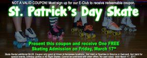 St Patrick's Day FREE Skate Coupon website version