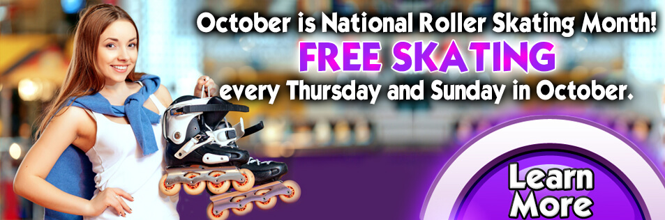 October is National Roller Skating Month = FREE Skating at Sparkles of Hiram!