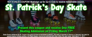 St Patrick's Day FREE Skate Coupon website version